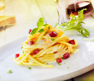 Serving Of Spaghetti Carbonara Royalty Free Stock Photo