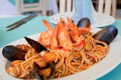 Spagetty Seafood Meal Stock Photography