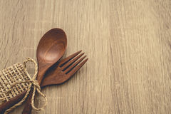Serving spoons on wood royalty free stock photos