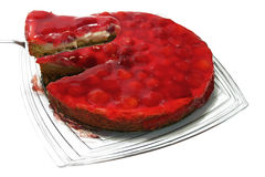 Serving strawberry pie Royalty Free Stock Photography
