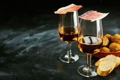 Serving of stylish Spanish tapas and aperitif Royalty Free Stock Image