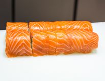 Serving salmon sushi royalty free stock photography