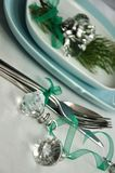 Serving table with christmas decoration. And firs branches Stock Images