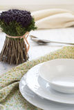 Serving table for a dinner Royalty Free Stock Photography