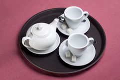 Serving table with tea Royalty Free Stock Images