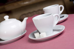 Serving table with tea Stock Photography
