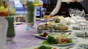 Serving table stock footage