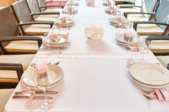Serving table for a wedding banquet in a restaurant Royalty Free Stock Photo