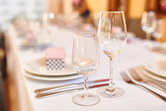 Serving table for a wedding banquet in a restaurant Stock Photo