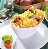 Serving Of Tagliatelle Mushroom Royalty Free Stock Images