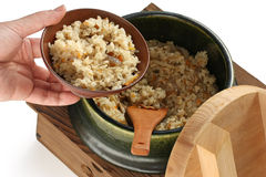 Serving takikomi gohan (japanese mixed rice) Royalty Free Stock Images