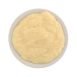 Serving of tapioca pudding in a bowl top view. Top view of a serving of fresh tapioca pudding in a small bowl isolated on a white background Stock Photos