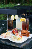 Serving for three. Three colorful drinks with snack ready for serving Royalty Free Stock Photos