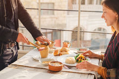 Serving of traditional Cappadocia turkish food from pottery keba Royalty Free Stock Photography