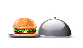 Serving tray for food with burger. On the white background. 3d Royalty Free Stock Photography
