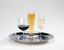Serving tray w/drinks. Silver serving tray with wine,beer,champagne Stock Photography