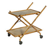Serving trolley. Trolley on wheels old antique for dining or resturants isolated on white with clipping path Royalty Free Stock Images