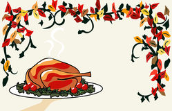 Serving Turkey Dinner. A roasted turkey dinner is served on a platter and lots of copy space.  The colored vines add a festive mood Stock Photos