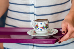 Serving turkish coffee Royalty Free Stock Images
