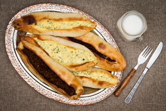 Serving of Turkish pide and ayran Royalty Free Stock Photography