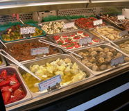 Serving Up Italian Deli. Wide selection of fresh italian deli appetizers Royalty Free Stock Images