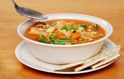 Serving of vegetable soup Stock Photo