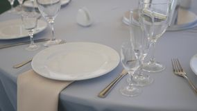 Serving wedding table stock footage