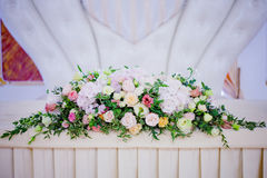 Serving wedding table flowers. Design Bureau for newlyweds Stock Images