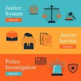 Serviços jurídicos, lei e ordem, grupo liso do conceito de justiça Juiz honesto, sistema de justiça, investigação do crime, servi Fotografia de Stock