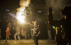 Servios la celebración de la Noche Vieja delante del tem del St. el Sava Foto de archivo libre de regalías