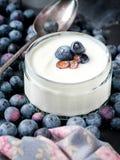 Servir do iogurte com os mirtilos e a farinha de aveia frescos inteiros na tabela rústica velha foto de stock