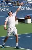 Servire di tennis di Isner Fotografia Stock
