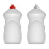 Servisca la derisione realistica della bottiglia del liquido o dello sciampo di lavaggio su Cappucci rossi e grigi Posto vuoto pe Immagini Stock Libere da Diritti