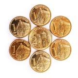Servische dinarmuntstukken Stock Afbeeldingen