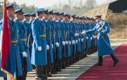 Servische legermilitairen op het rode tapijt Stock Afbeelding