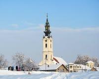 Servische orthodoxe kerk van heiligen COSMAS EN DAMIAN, Futog, dichtbij Novi Sad royalty-vrije stock fotografie