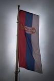 Servische vlag op de wind stock foto