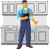 Servise man. Repairman in the kitchen Stock Photo