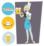 Servitris med ett magasin och ett öl Ställ in med objekt Royaltyfria Bilder