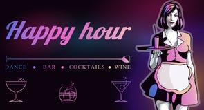 Servitris med magasinet Lycklig timme Reklamblad för en stång eller en nattklubb vektor illustrationer
