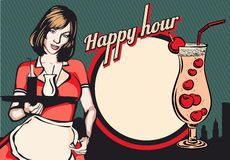 Servitris med magasinet Lycklig timme Reklamblad för en stång eller en nattklubb royaltyfri illustrationer