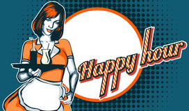 Servitris med magasinet Lycklig timme Reklamblad för en stång eller en nattklubb stock illustrationer