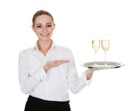 Servitris som bär ett magasin med vinexponeringsglas Royaltyfria Foton