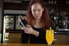 Servitris som gör en drink Royaltyfria Foton