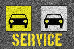 Servive. New painted service sign on the asphalt Royalty Free Stock Photography