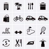 Servizi degli esercizi alberghieri ed icone delle facilità Insieme 3 fotografie stock libere da diritti