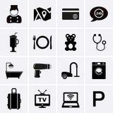 Servizi degli esercizi alberghieri ed icone delle facilità Insieme 1 immagine stock