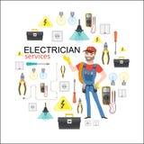 Servizi dell'elettricista L'elettricità professionale di infographics dell'elettricista foggia l'installazione Fotografie Stock Libere da Diritti