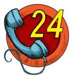 24 servizi di chiamata di ora Illustrazione di Stock