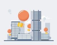 Servizi di distribuzione e commercio elettronico I pacchetti volano sui palloni, discendono sulla città Illustrazione di vettore  Fotografia Stock
